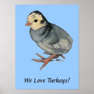 Turkey Poult Blue Slate Print