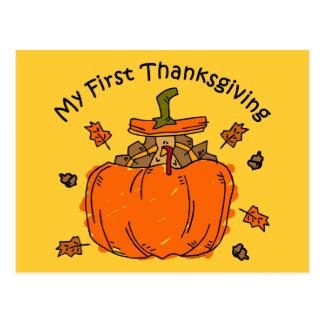 Turkey Pumpkin 1st Thanksgiving Postcard