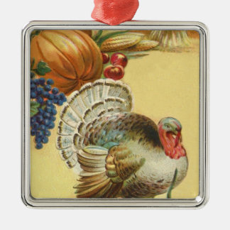 Turkey Pumpkin Corn Grapes Apple Haystack Metal Ornament