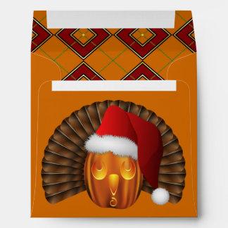 Turkey Pumpkin Santa on Argyle Hallowgivingmas Envelope