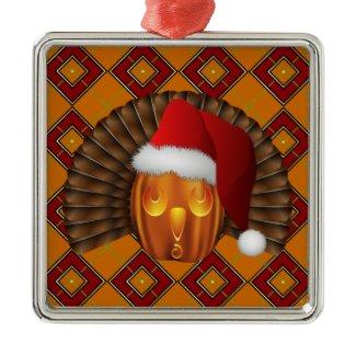 Turkey Pumpkin Santa on Argyle Hallowgivingmas Christmas Ornaments