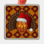 Turkey Pumpkin Santa on Argyle Hallowgivingmas Square Metal Christmas Ornament