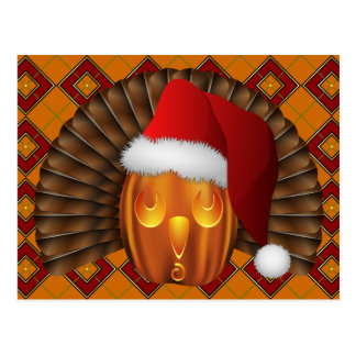 Turkey Pumpkin Santa on Argyle Hallowgivingmas Postcard