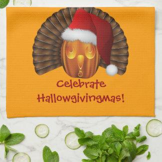 Turkey Pumpkin with a Santa Hat Hallowgivingmas Kitchen Towels