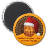Turkey Pumpkin with a Santa Hat Hallowgivingmas Fridge Magnet