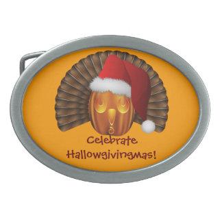 Turkey Pumpkin with a Santa Hat Hallowgivingmas Oval Belt Buckle