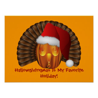 Turkey Pumpkin with a Santa Hat Hallowgivingmas Poster