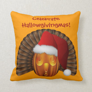 Turkey Pumpkin with a Santa Hat Hallowgivingmas Throw Pillow