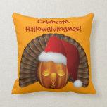 Turkey Pumpkin with a Santa Hat Hallowgivingmas Throw Pillows