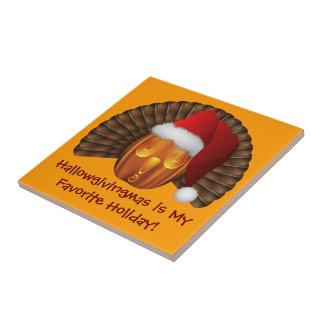 Turkey Pumpkin with a Santa Hat Hallowgivingmas Ceramic Tile