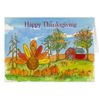 Turkey Red Barn Pumpkin Patch Happy Thanksgiving Greeting Card