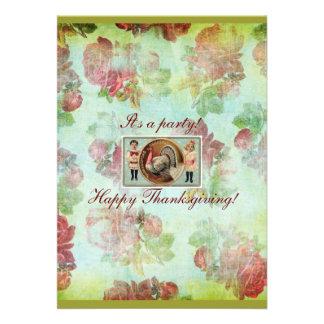 Turkey Rose Thanksgiving invitation