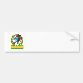 Turkey Run Runner Side Cartoon Bumper Sticker