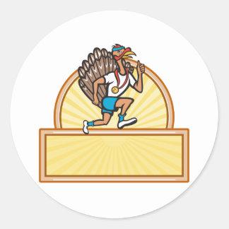 Turkey Run Runner Side Cartoon Isolated Sticker