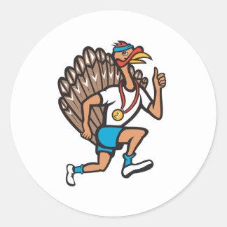 Turkey Run Runner Thumb Up Cartoon Round Stickers