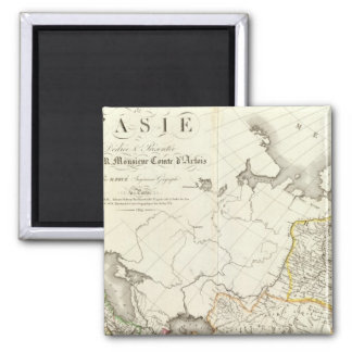 Turkey, Russia and Asia Engraved Map 2 Inch Square Magnet