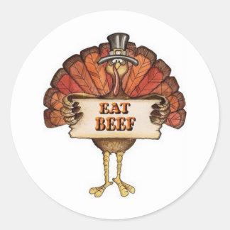 Turkey says Eat Beef Classic Round Sticker