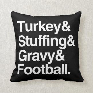 Turkey & Stuffing & Gravy & Football Thanksgiving Throw Pillow