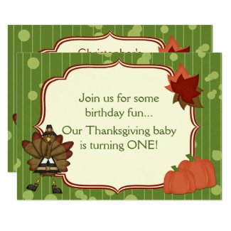 Turkey Thanksgiving 1st Birthday Invite for Boys