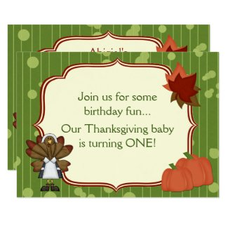 Turkey Thanksgiving 1st Birthday Invite for Girls