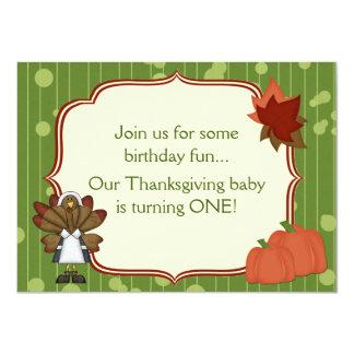 Turkey Thanksgiving 1st Birthday Invite for Girls