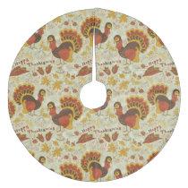 Turkey Thanksgiving Fall Autumn Pattern Fleece Tree Skirt