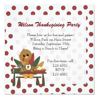 Turkey Thanksgiving 5.25x5.25 Square Paper Invitation Card