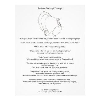 "Turkey Thanksgiving Vegetarian Coloring Story 8.5"" X 11"" Flyer"