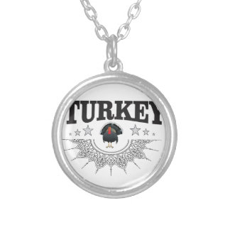 turkey time stars silver plated necklace