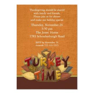 Turkey Time Thanksgiving Dinner Invitation