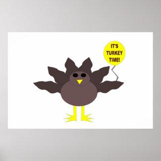 Turkey Time Thanksgiving Poster
