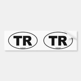 Turkey TR Oval ID Identification Code Initials Car Bumper Sticker