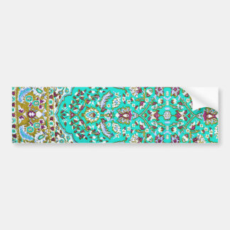 Turkey,Turkish Textile Cloth Rug Pattern Blues Bumper Sticker