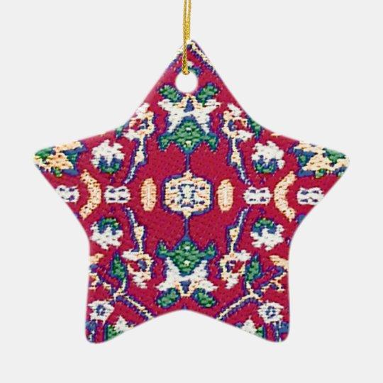 Turkey,Turkish,Textile,Cloth,Rug Pattern Muted Red Ceramic Ornament