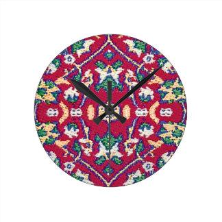 Turkey,Turkish,Textile,Cloth,Rug Pattern Muted Red Round Wall Clocks