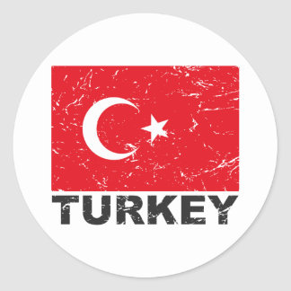 Turkey Vintage Flag Round Sticker