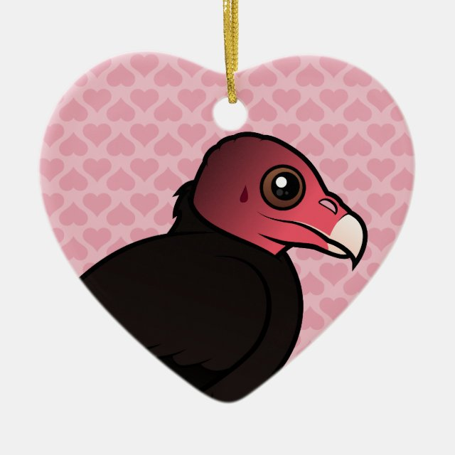Cute Birdorable Turkey Vulture Heart Ornament