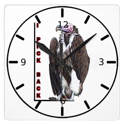 Turkey Vulture I Pick Back Posterized Photo Square Wallclocks