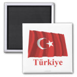 Turkey Waving Flag with Name in Turkish 2 Inch Square Magnet