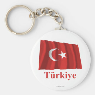 Turkey Waving Flag with Name in Turkish Keychain
