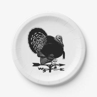 Turkey Weathervane 7 Inch Paper Plate