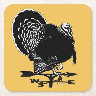 Turkey Weathervane Square Paper Coaster