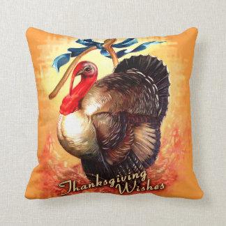 Turkey Wishes Thanksgiving Throw Pillow