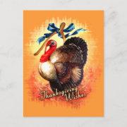 Turkey Wishes Vintage Postcard