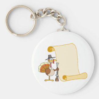Turkey With Pilgrim Hat and Musket And Scroll Keychain