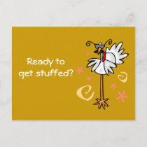 turkey with specs, Ready to get stuffed? Invitation Postcard