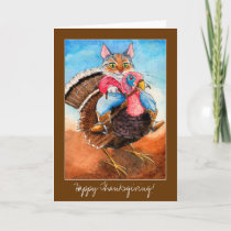 Turkey-wrangler cat Thanksgiving card invitation