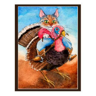 Turkey-wrangler funny cat postcard