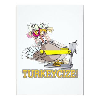 Turkeycize exercising turkey cartoon 6.5x8.75 paper invitation card