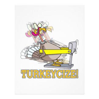 """Turkeycize exercising turkey cartoon 8.5"""" x 11"""" flyer"""